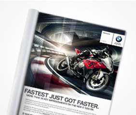 print design for marketing materials for BMW motorrad