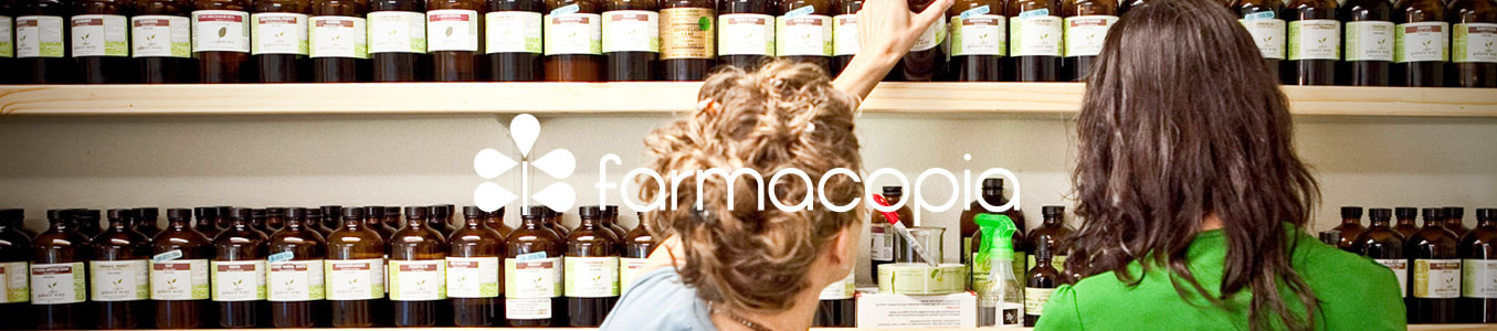 farmacopia logo with pharmacist in background