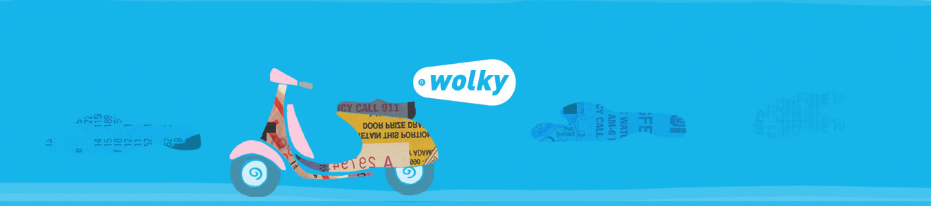 wolky shoes logo with collage style scooter