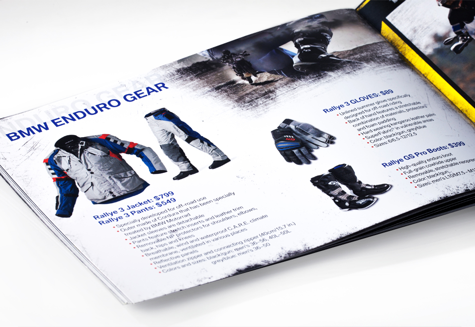 interior of marketing material for bmw motorrad