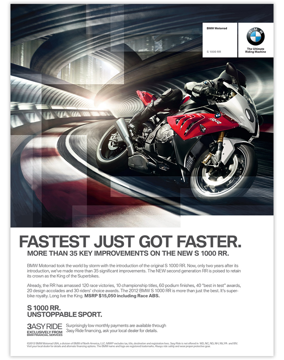 bmw motorrad layout design ad by oblique design