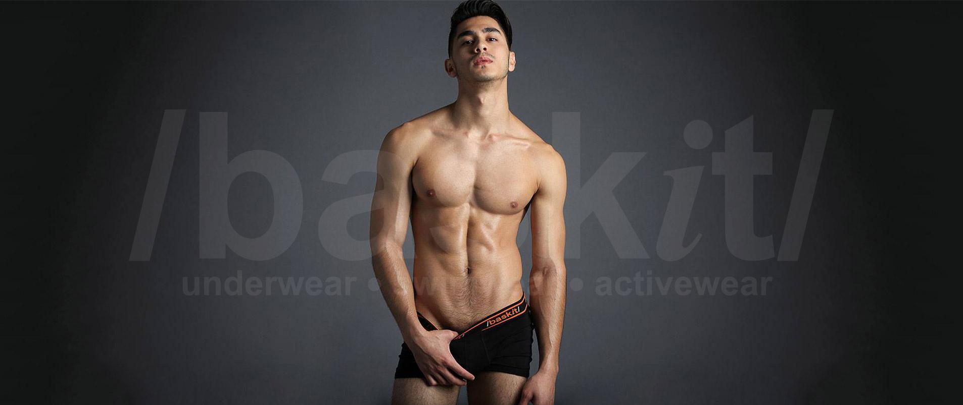 model wearing baskit underwear