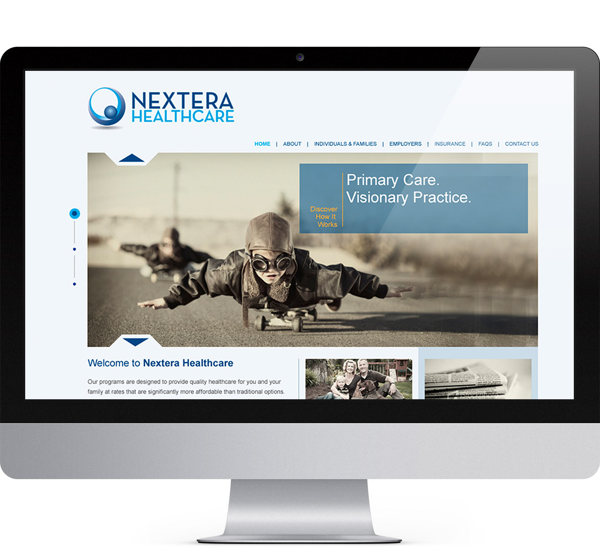 desktop website design for nextera
