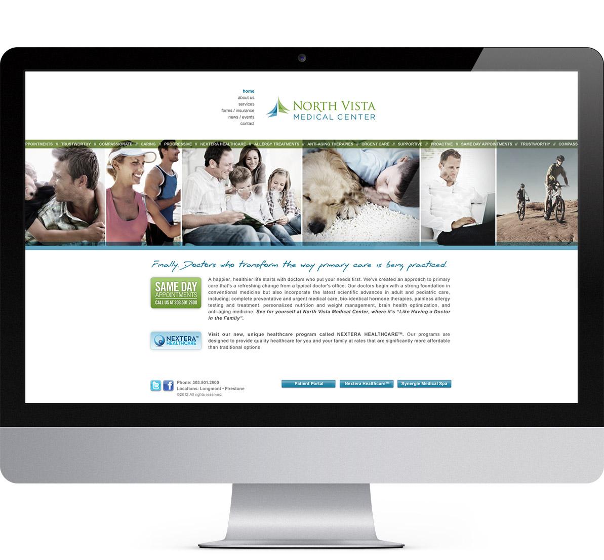 desktop website design for north vista