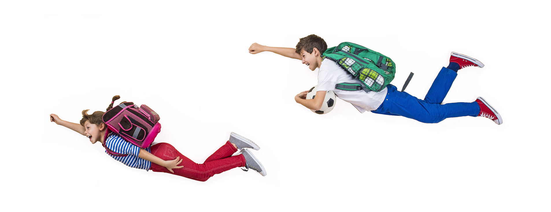 kids flying with backpacks