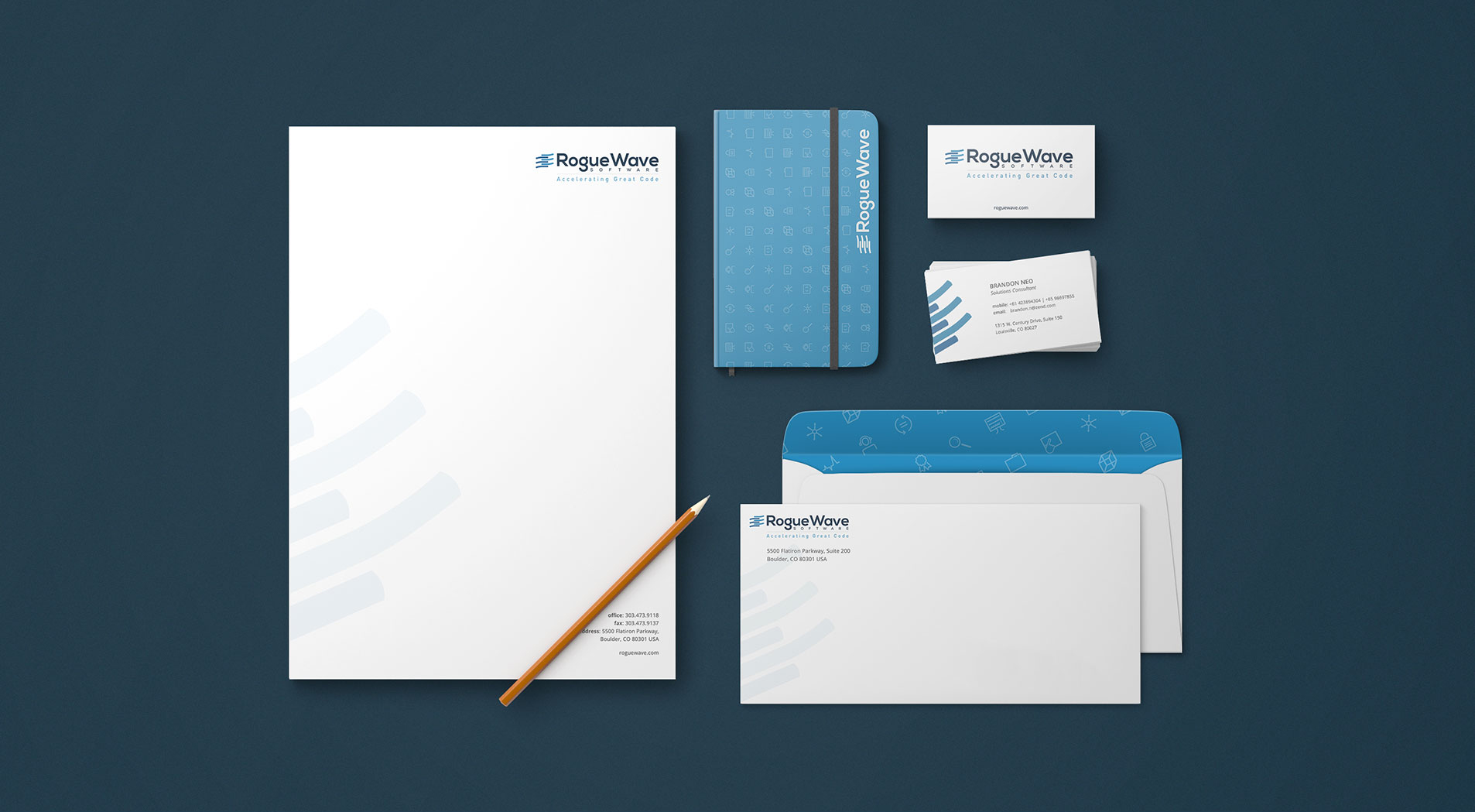 stationery design for rogue wave