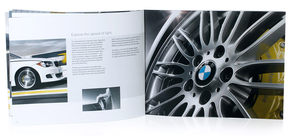 interior of brochure for bmw