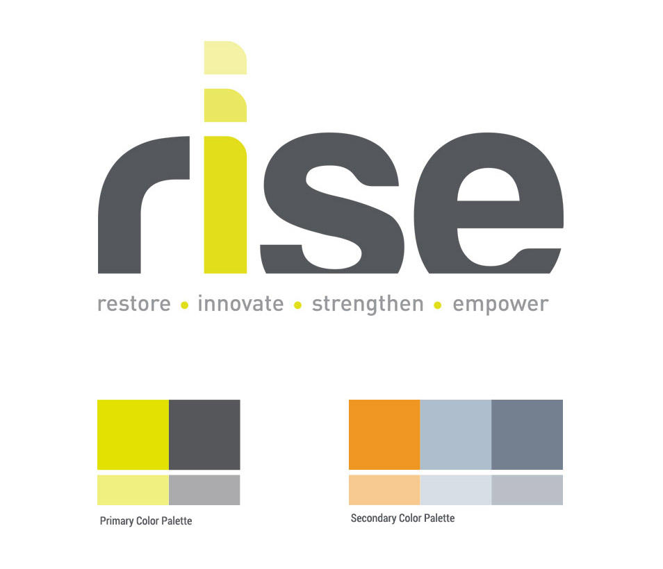 rise yoga logo design and color palette