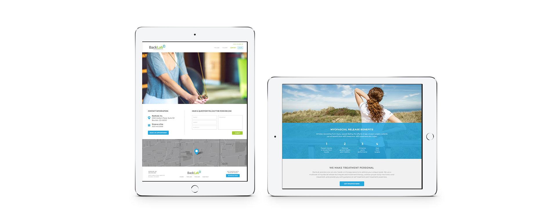mobile website designs for backlab