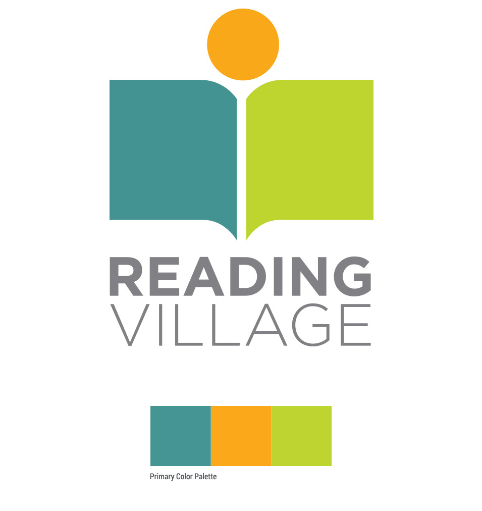 reading village logo design with primary color palette