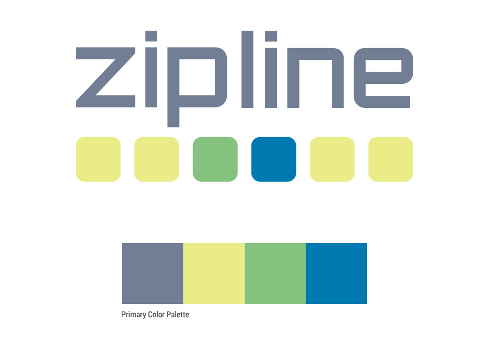 zipline logo design with primary color palette
