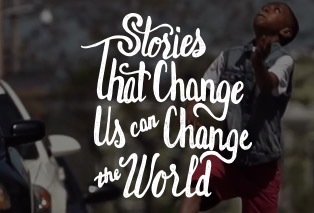 home page tagline 'stories that change us can change the world'