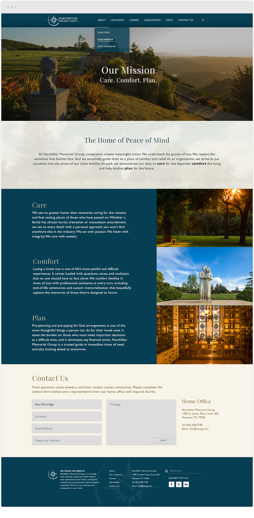 website redesign project for northstar memorials group