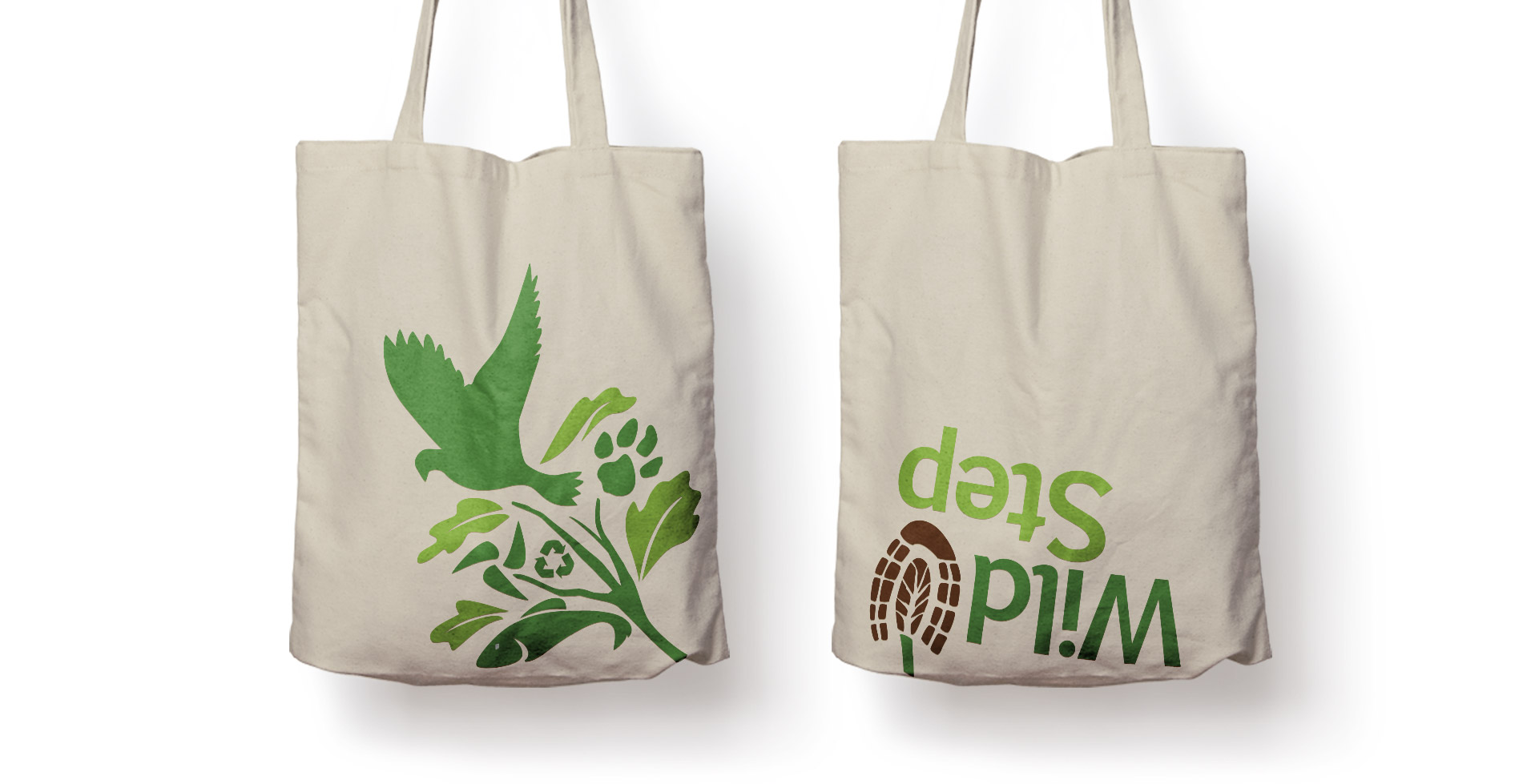 shopping bags with wild step logo