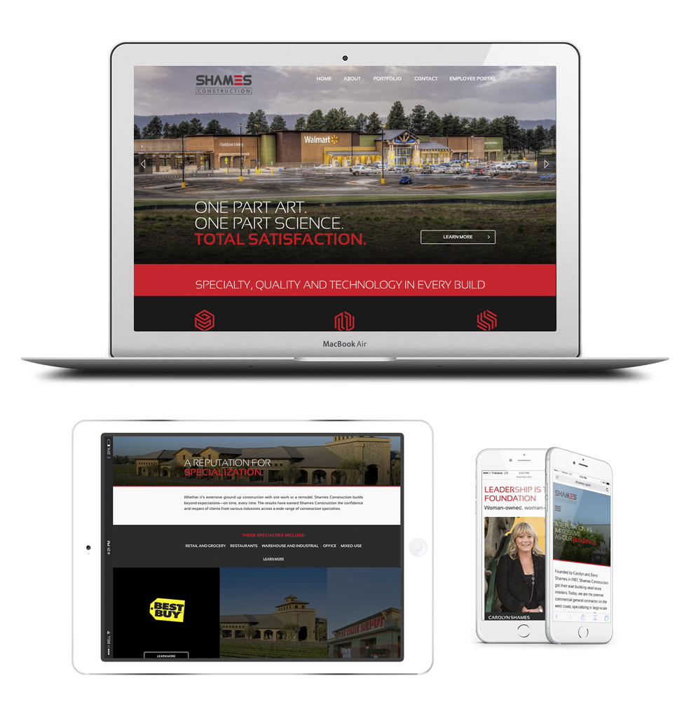 website redesign for shames construction