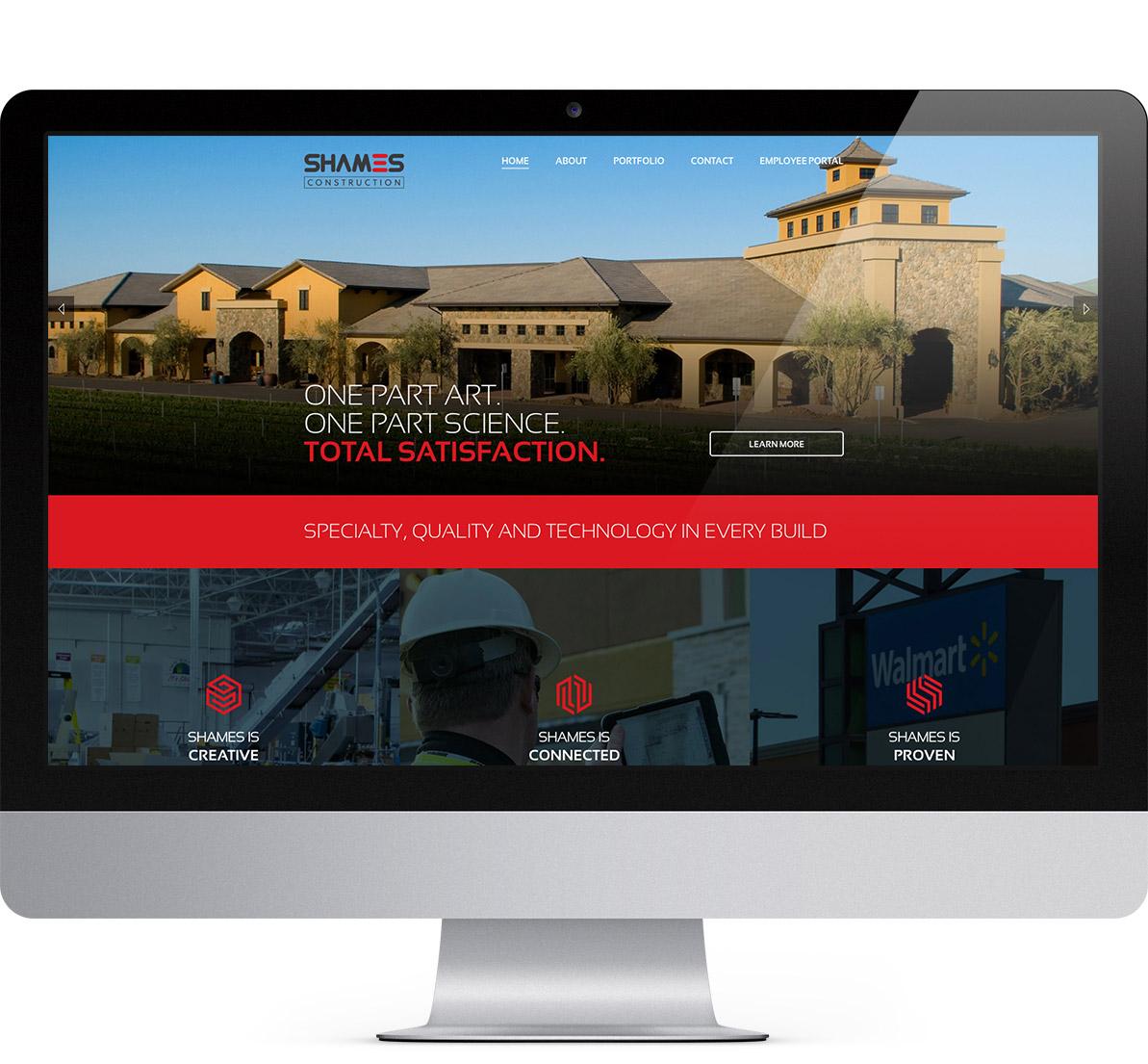 desktop website design for shames construction