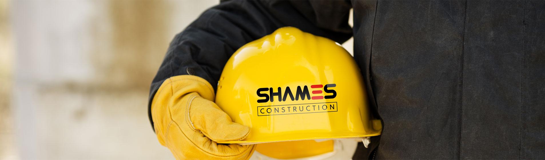 hardhat with shames construction logo