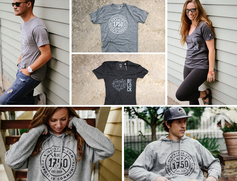 oblique design gives back with comunitee program for 1750 block apparel design