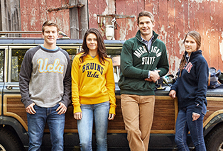 students wearing sweatshirts by league collegiate outfitters