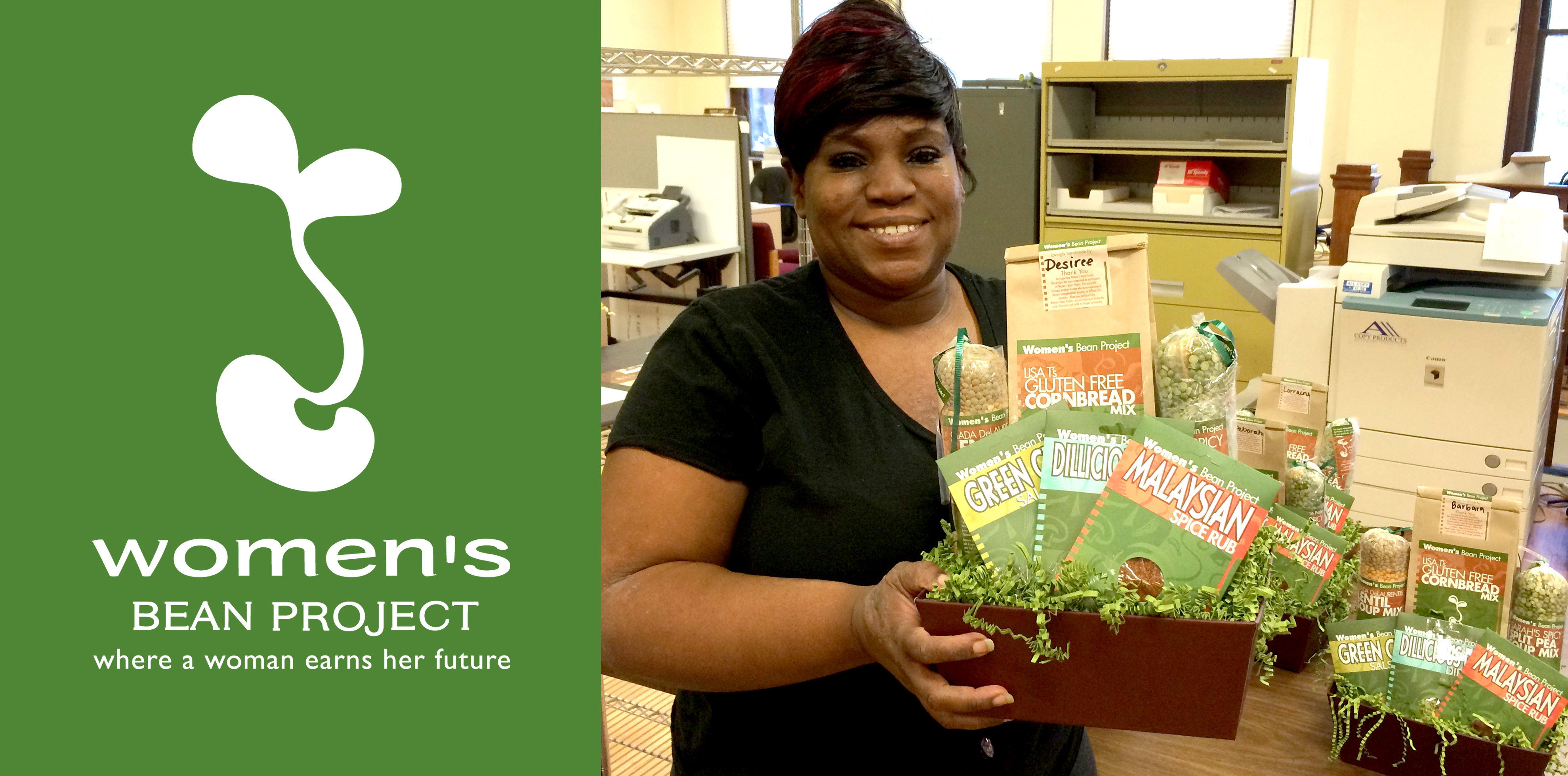 desiree displaying gift basket by womens bean project