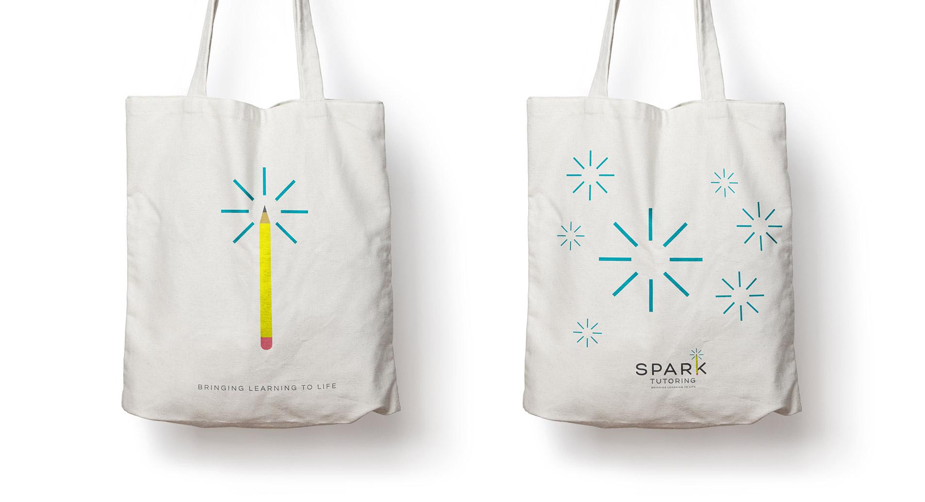logo design on bags for spark tutoring
