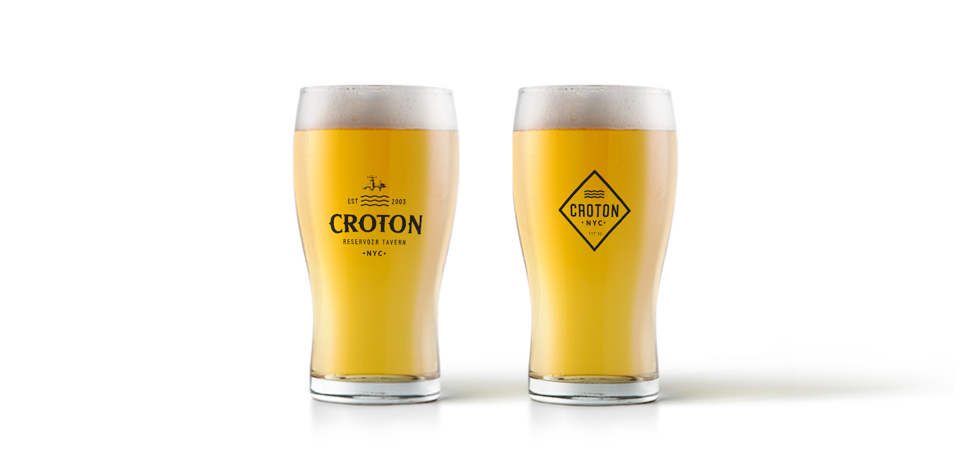 pint glass with logo design