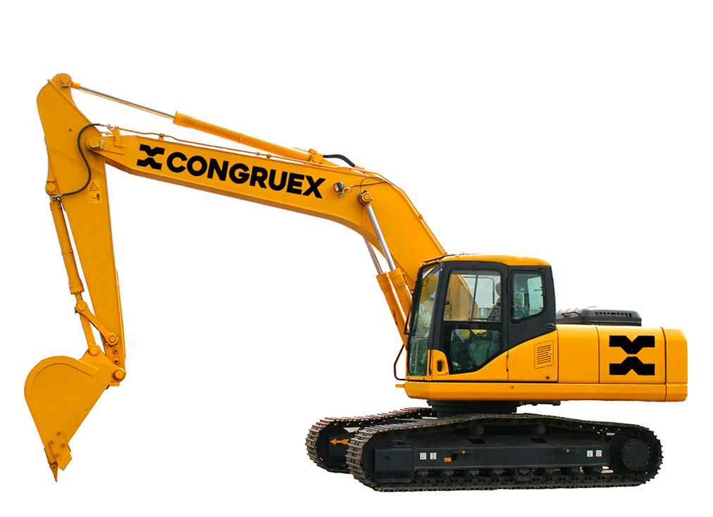 excavator with branded logo