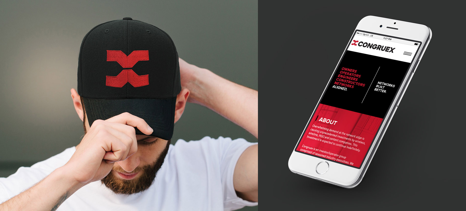 logo on hat and mobile website