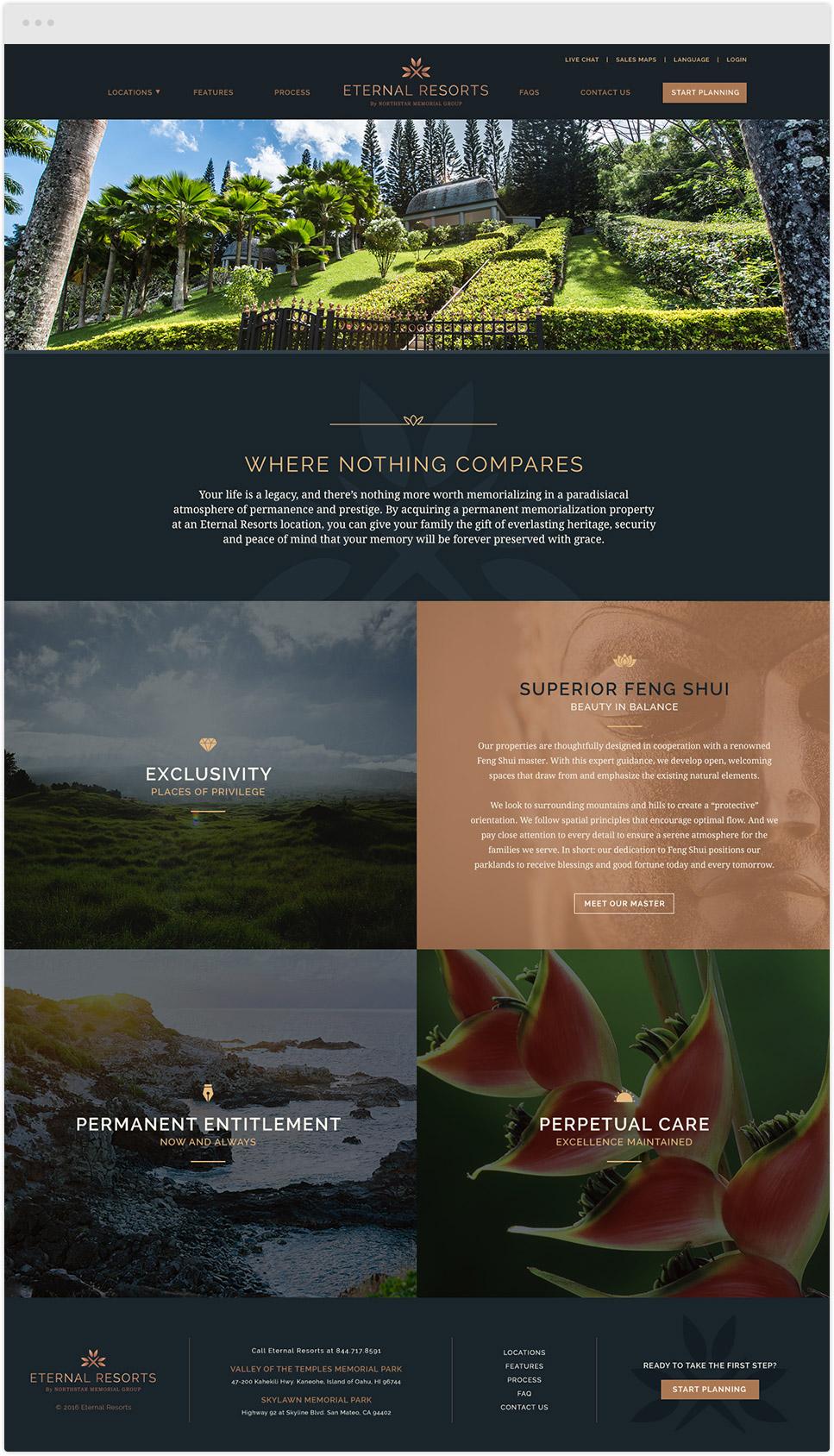 corporate website design for eternal resorts