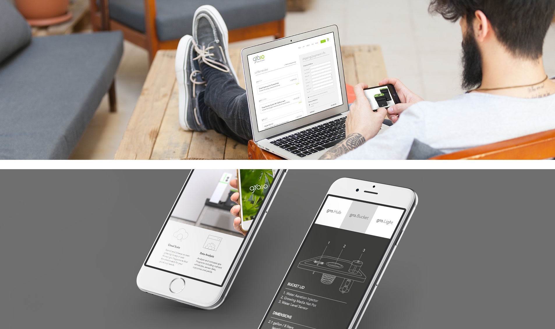 groio mobile and website designs