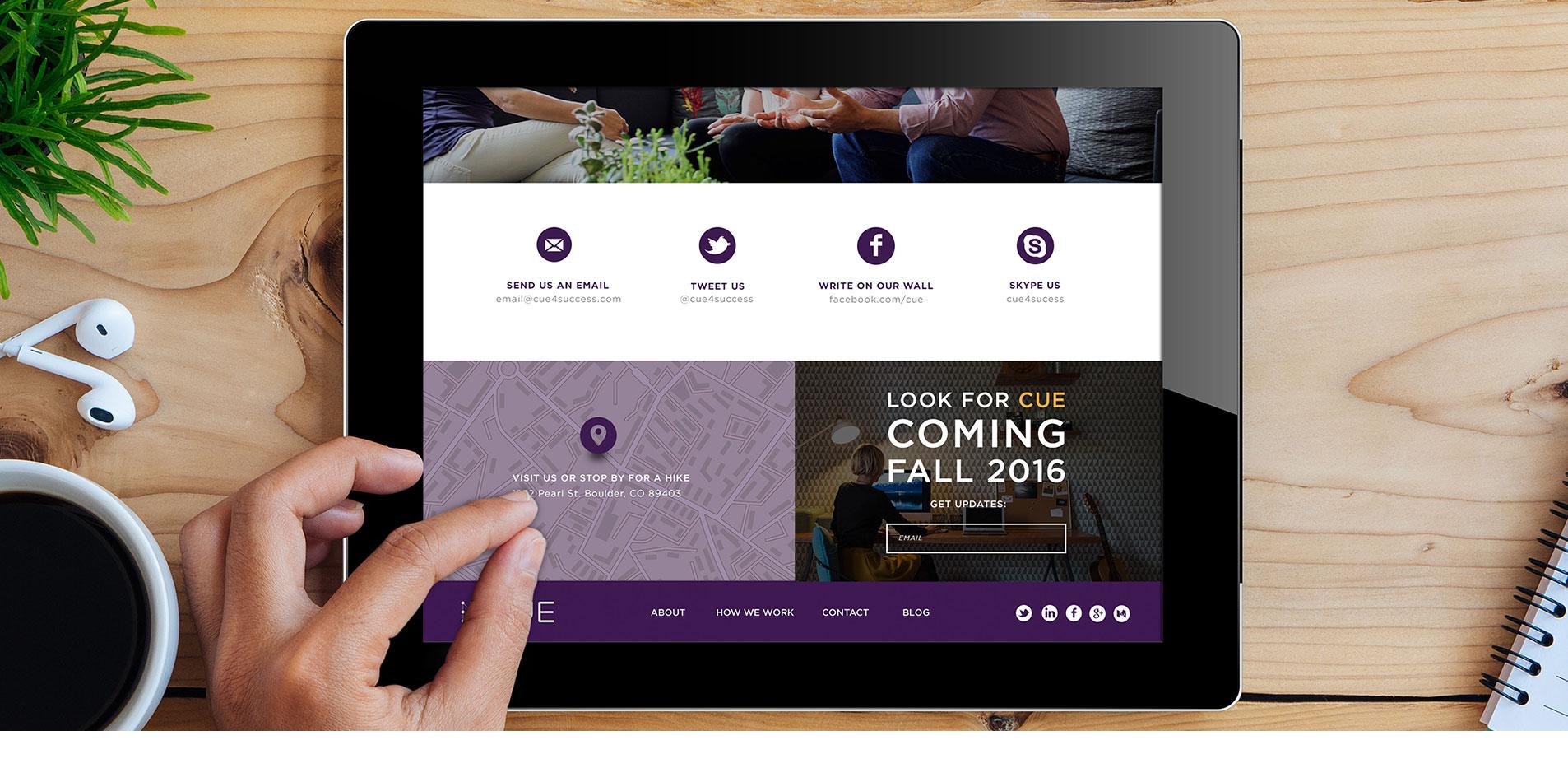 mobile website design for cue