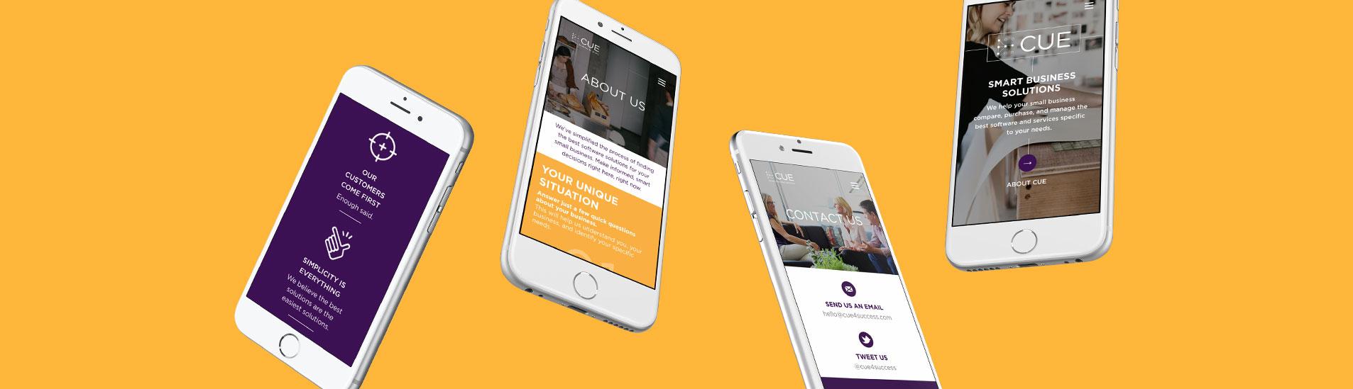 mobile web designs for cue
