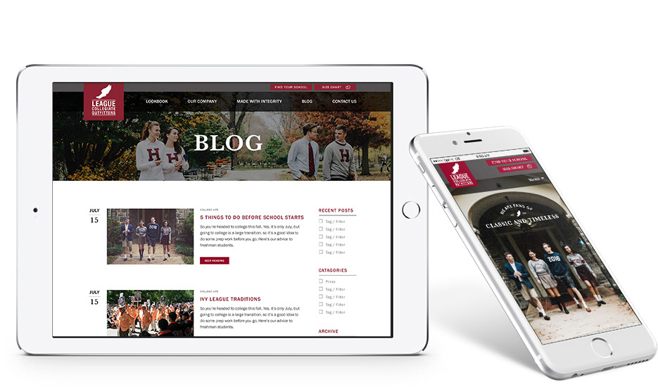mobile website design for league collegiate outfitters
