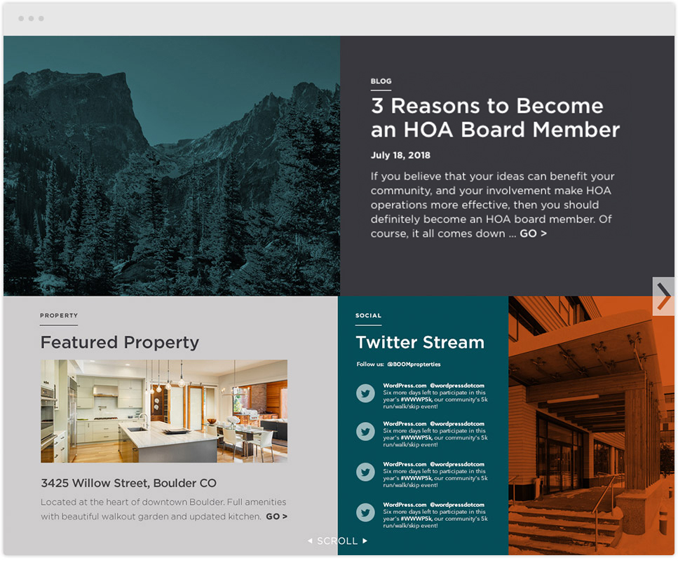 website redesign for boom properties