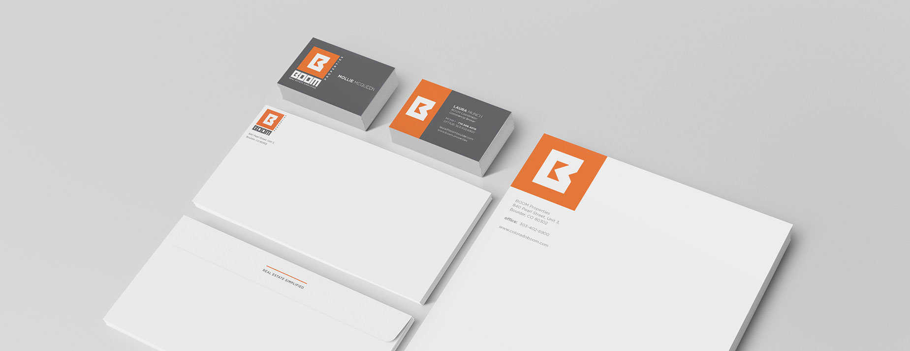 stationery design for boom properties