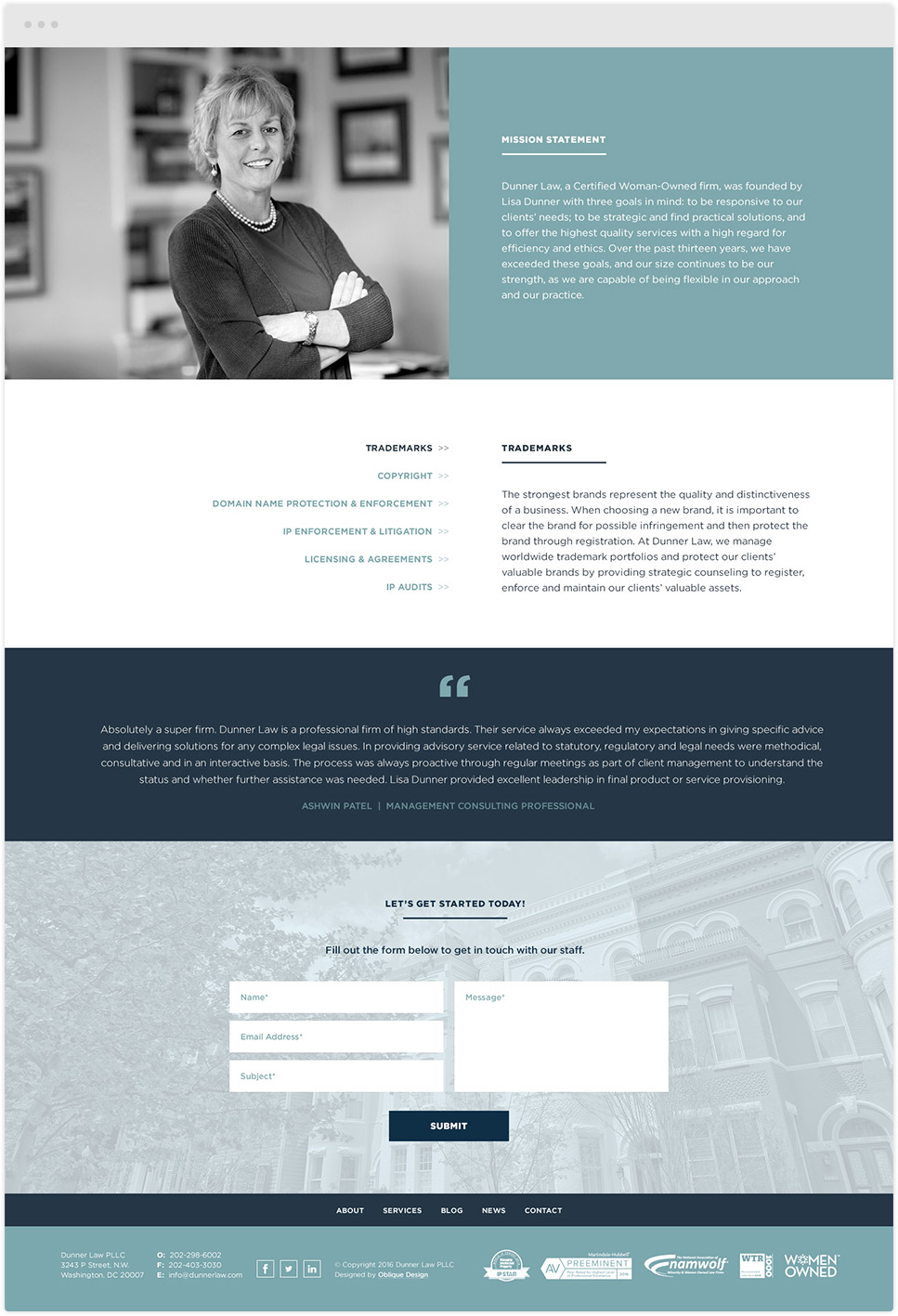 law firm website design for dunner law