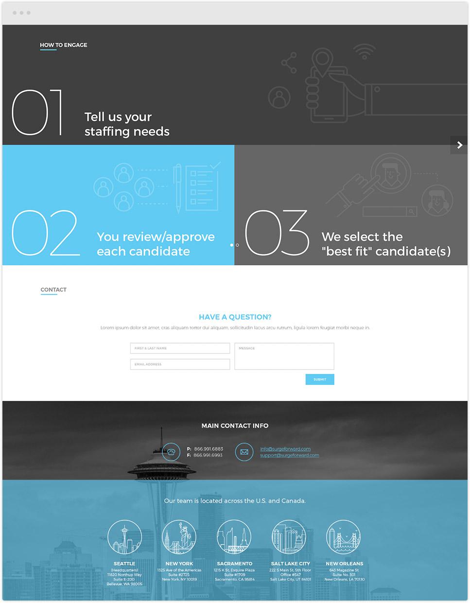 desktop website design for surge