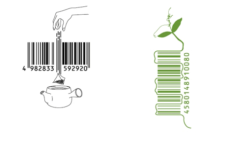 bar code designs with tea and plant