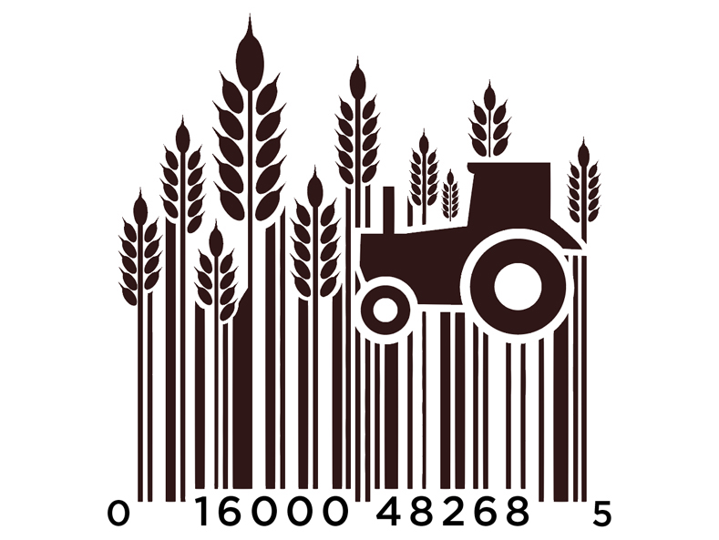 bar code designed into wheat and tractor
