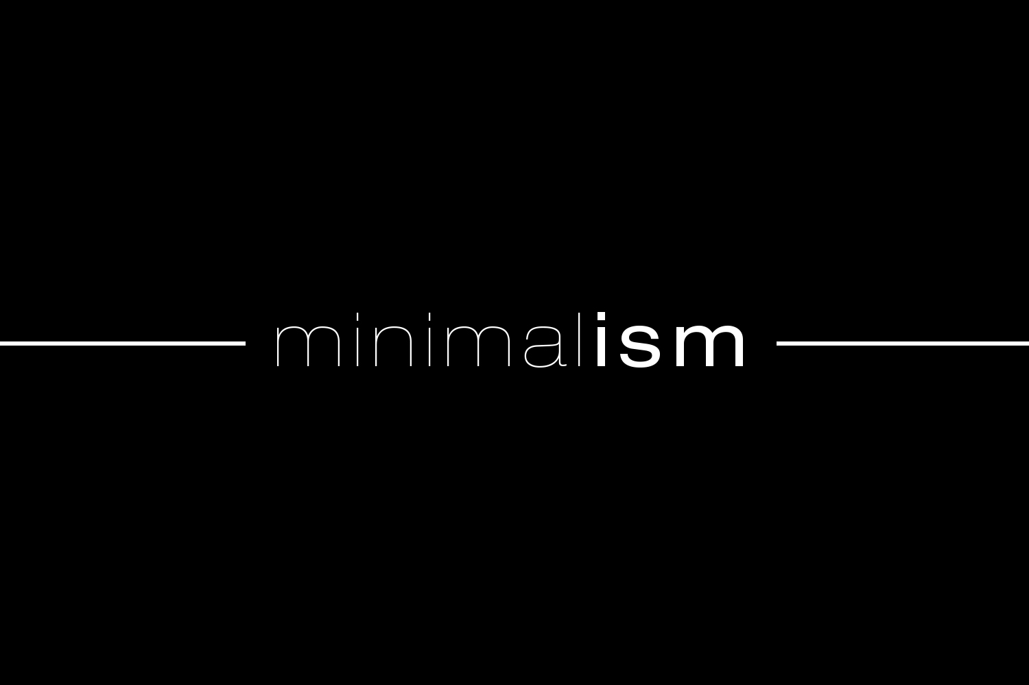 minimalism text white on black