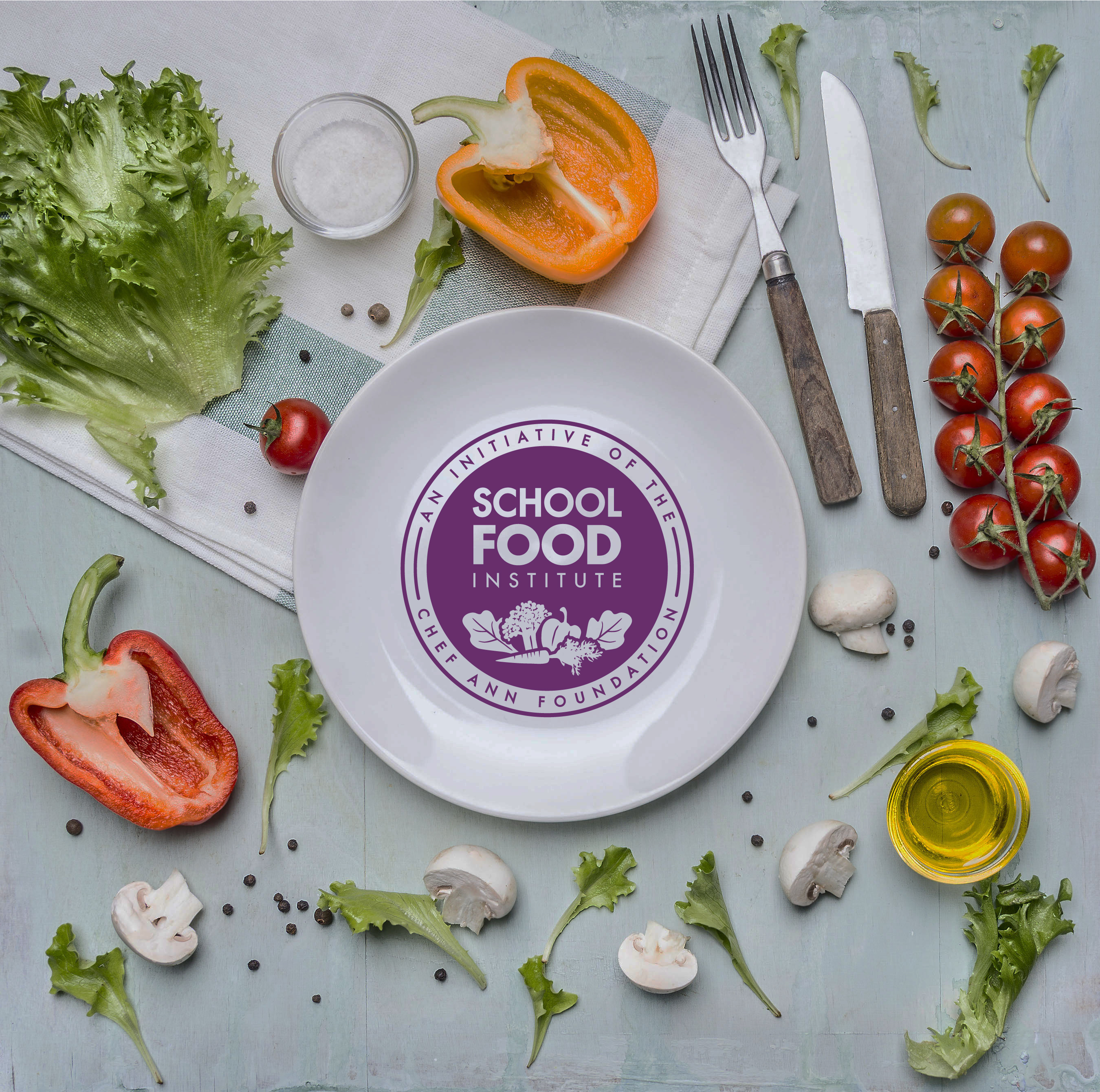 food school logo on plate