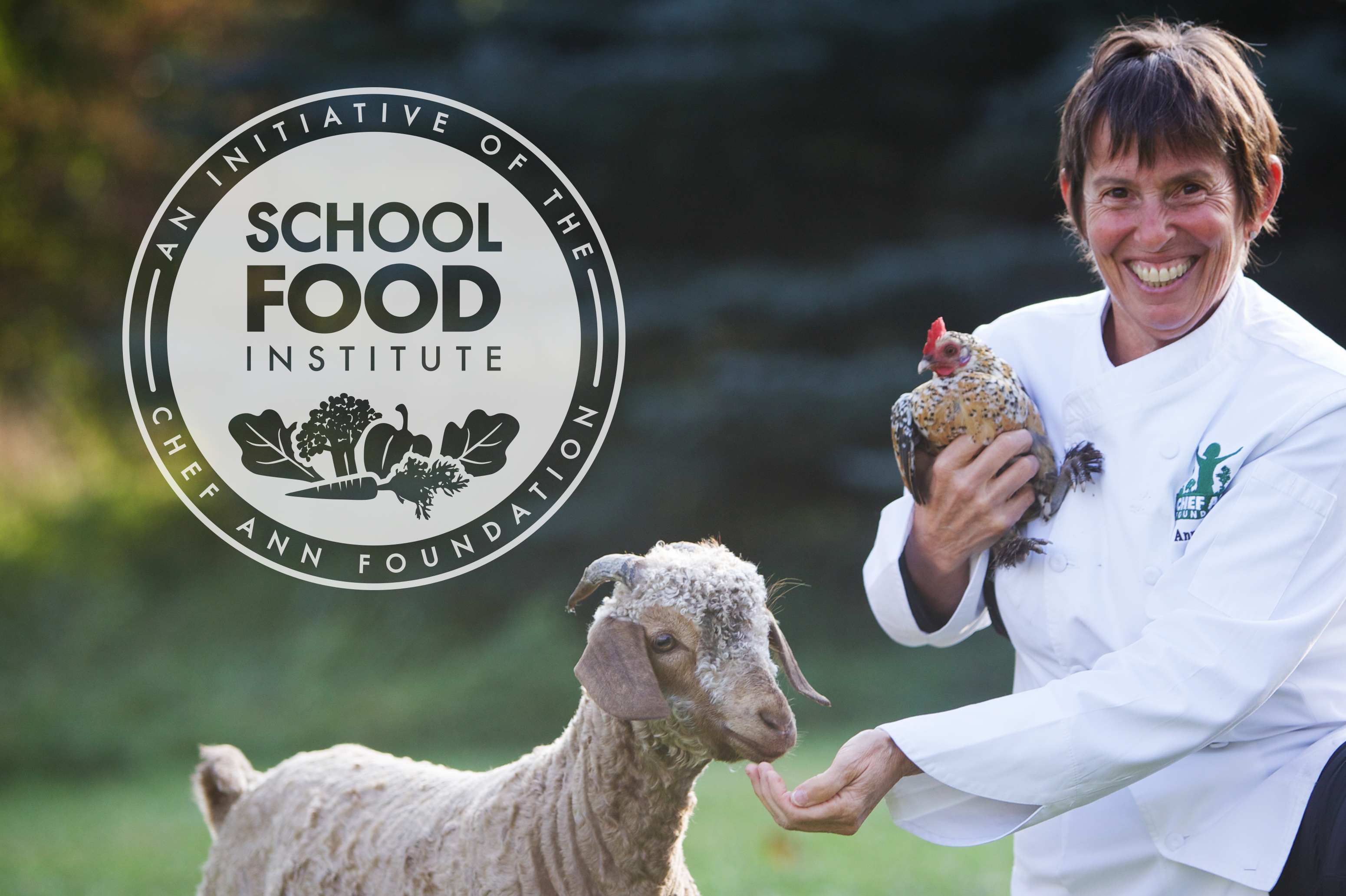 school food institute logo with founder and animals