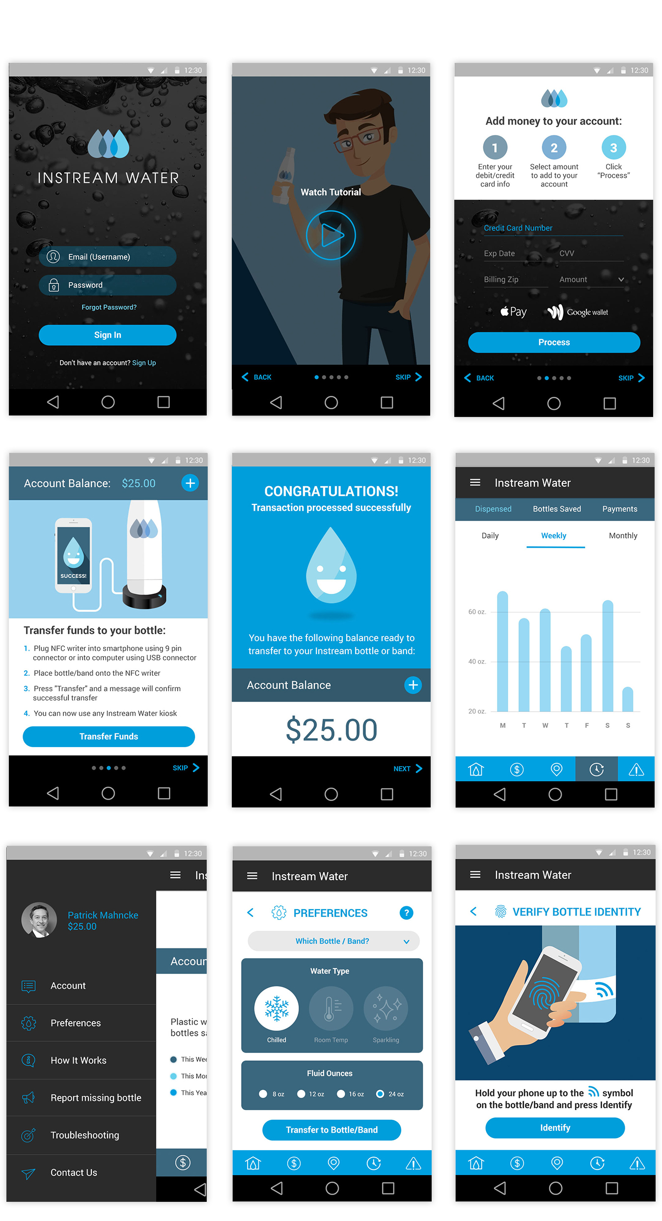 mobile website design comps for instream water