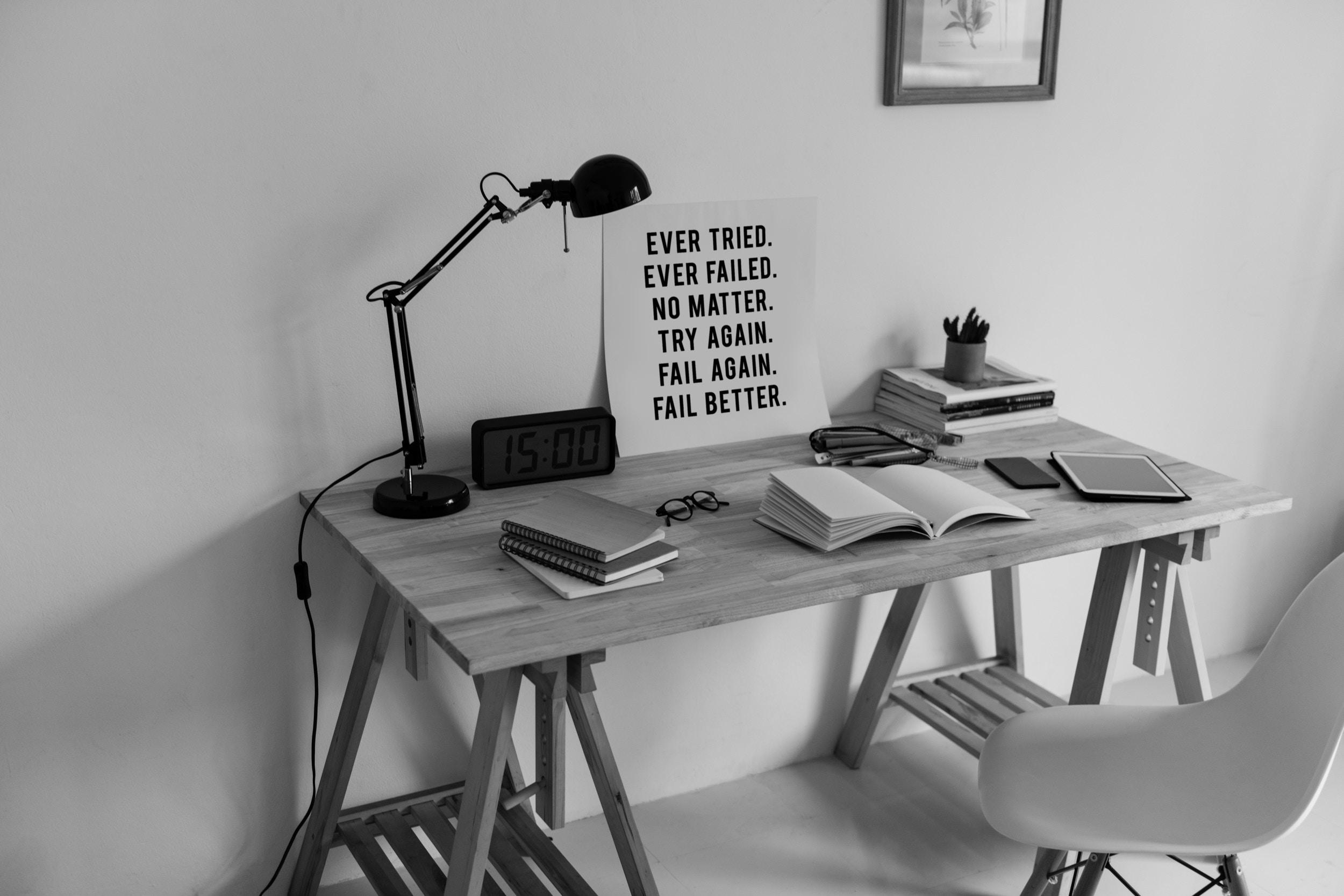 desk with work supplies
