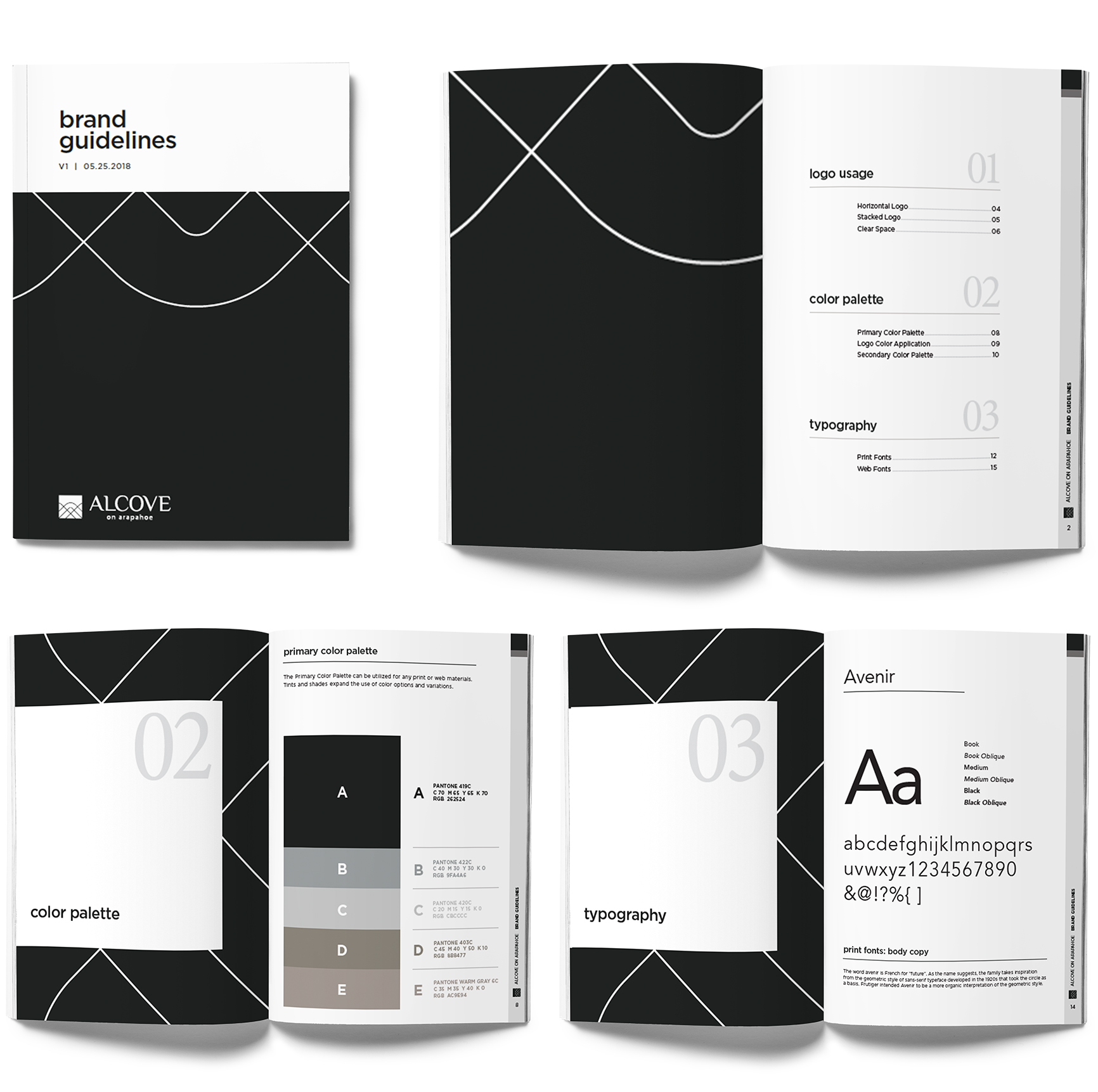 print examples of brand standards for alcove on arapahoe