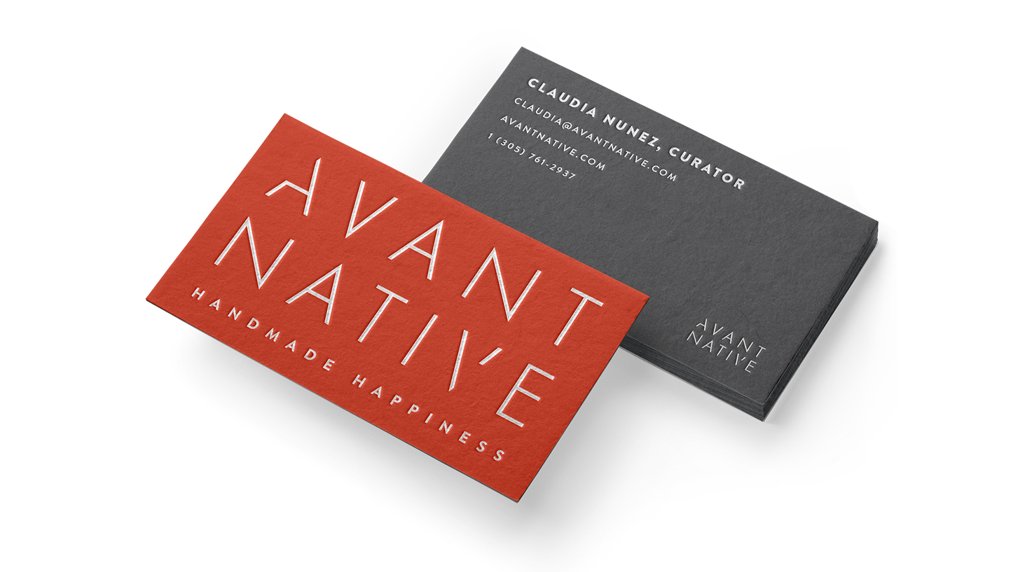 business card design for avant native