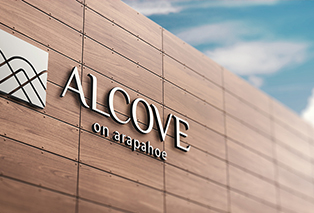 outdoor logo design for alcove on arapahoe