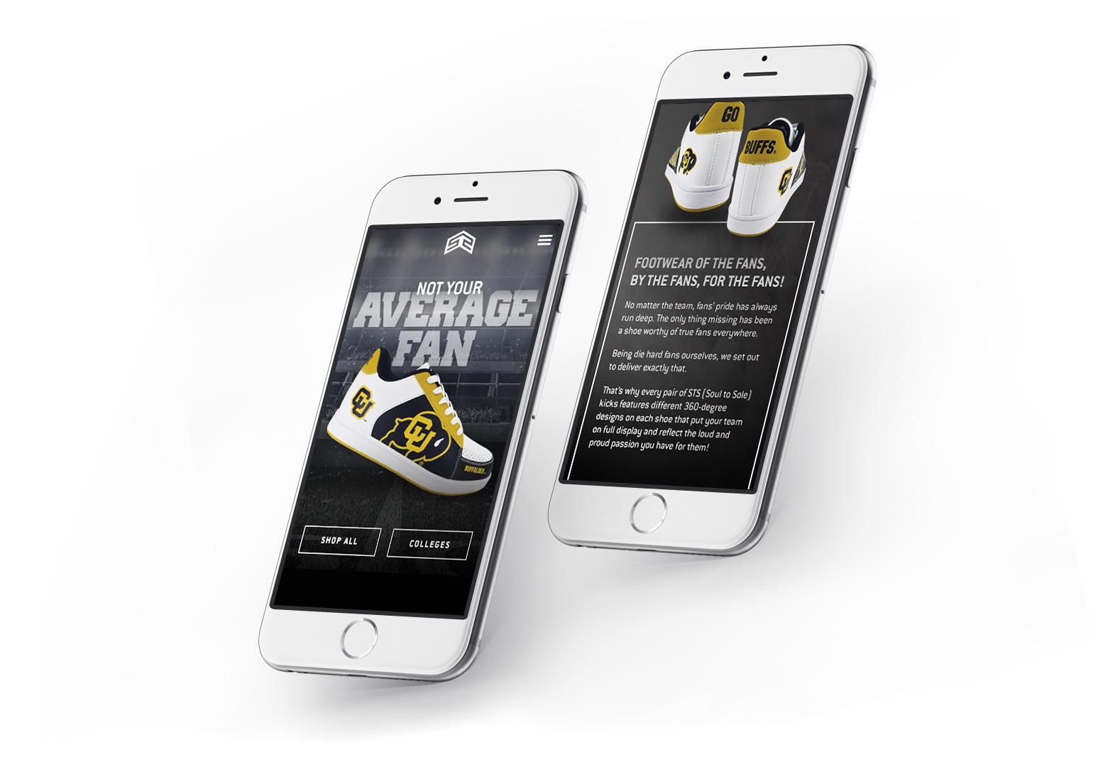 mobile website design for sts footwear