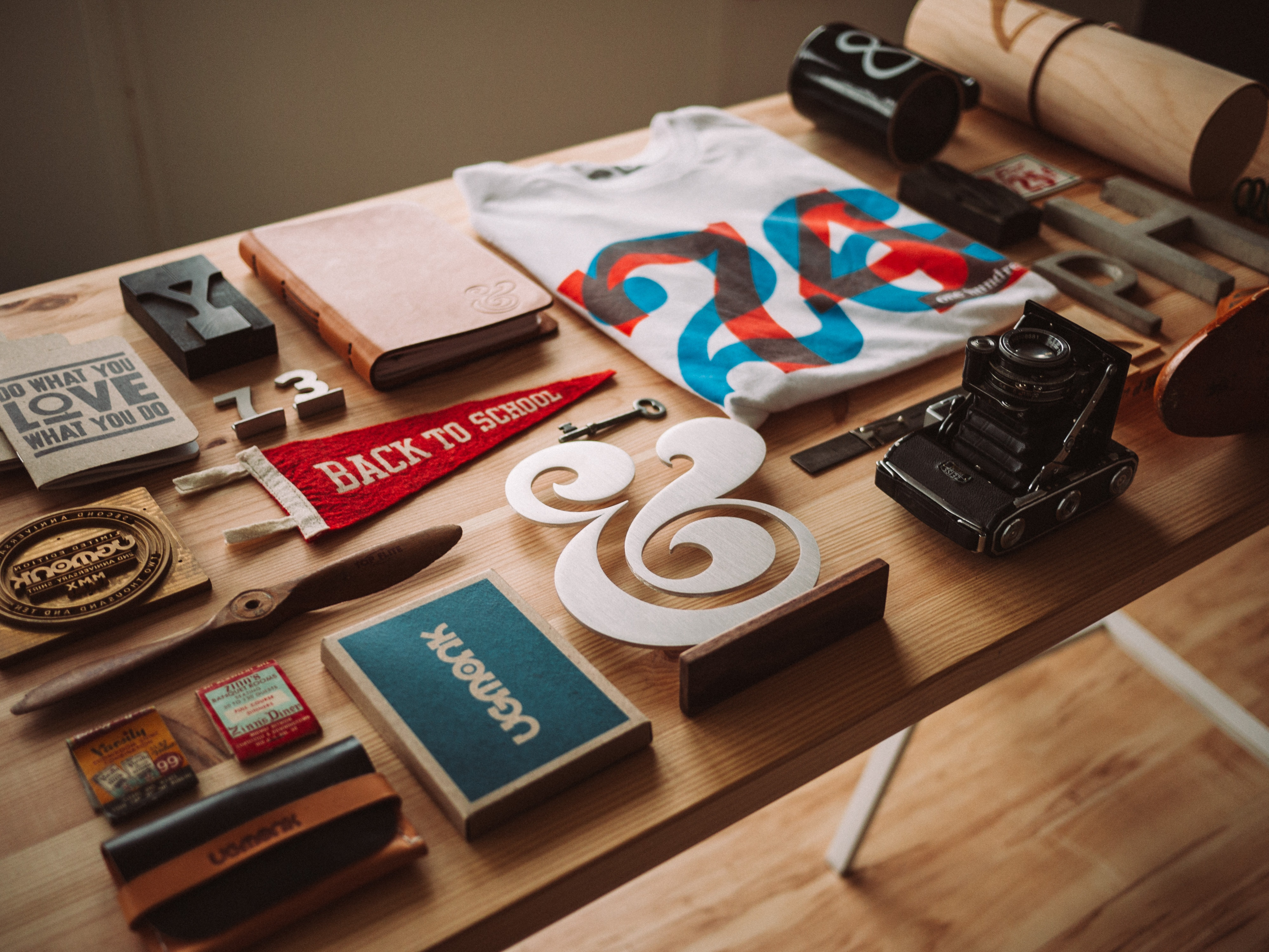 curated items on desk