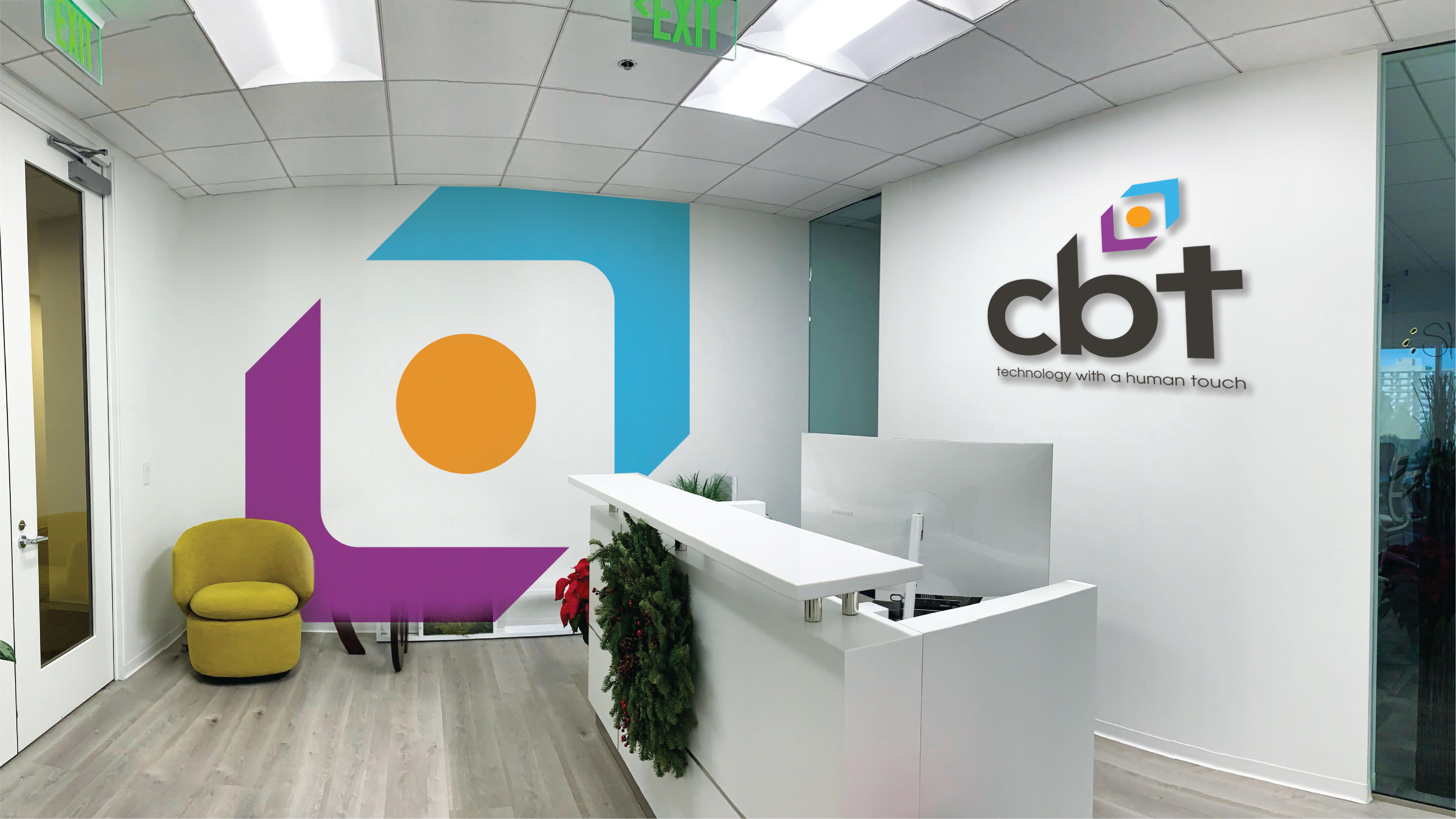 cbt logo branding on office wall